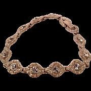 Beautiful Vintage Silvertone Metal Rhinestone Bracelet