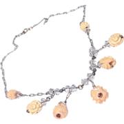 REDUCED 1930's  Hand Carved Wooden Floral Motif Sterling Silver Necklace