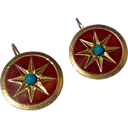 Vintage French Zoe Caste Gold Tone Enamel & Turquoise Earrings