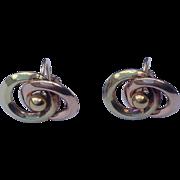 Vintage Two Tone Gold Screw Back Earrings