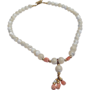 REDUCED Vintage Mother Of Pearl Coral Necklace
