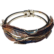 REDUCED Unusual Gold Tone Tri - Color  Clamper Bracelet