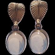 Vintage Loran Sim Co. 12 K Gold Filled Moonstone Dangle Earrings