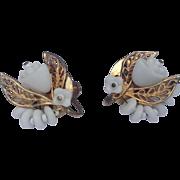 Vintage Gold Tone Metal Floral Motif Earrings