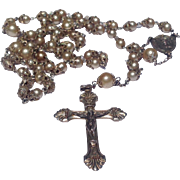 Vintage Sterling Silver Faux Pearl Rosary