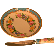 SOLD Crown Staffordshire Butter Pat and Knife