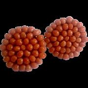 Vintage Coral Screw Back Earrings