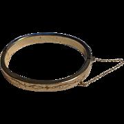 Vintage Gold Filled Black Enamel Hinged Bangle Bracelet