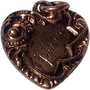 REDUCED Antique Edwardian 14 K Gold Repousse Heart Pentant