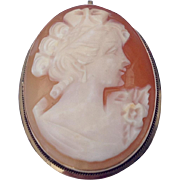 REDUCED Vintage 14 K Gold Cameo Brooch/Pendant