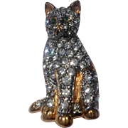 Vintage Carolee Gold Tone Metal  Rhinestone Cat Brooch