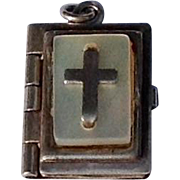 Vintage Sterling Silver MOP Bible Charm