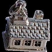 Vintage Sterling Silver Log Cabin School