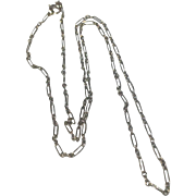 SOLD Art Deco 14 K White Gold Dainty Paper Clip Chain/Necklace