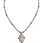 REDUCED Vintage 10 K Gold Angel Skin Coral Cameo Necklace