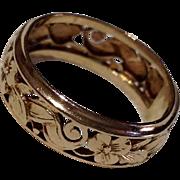 REDUCED Vintage 14 K Gold Ornate Wedding  Band