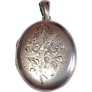 REDUCED Vintage Sterling Silver Large Oval Double Photo Locket