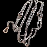 Victorian Silvertone Metal & Gold Filled Muff Lorgnette Or Sautoir Chain