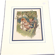 "Victorian 1890 Juvenile Chromolithograph Print ""In The Swing"""