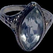 REDUCED Art Deco 18 K White Gold Aquamarine Filigree Ring