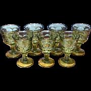 Vintage 1960's Set Of Seven Fostoria Argus -Green Stemmed Water Goblets