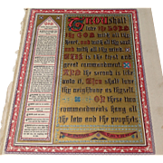 "Victorian Page From A Family Bible ""The Ten Commandments"""