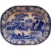 REDUCED Victorian Blue & White Wild Rose Staffordshire Platter Ca. 1840