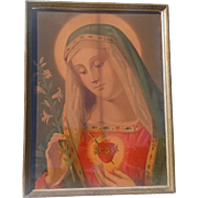 Vintage Immaculate Heart Of Mary Religious Print