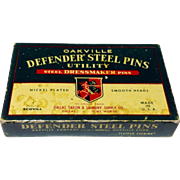 Vintage Oakville Defender Steel Pins In Original Box