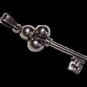 Vintage Sterling Silver Key Pendant