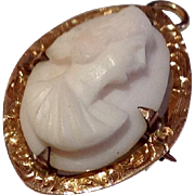 Vintage 10 K Yellow Gold Angel Skin Cameo Brooch Pendant