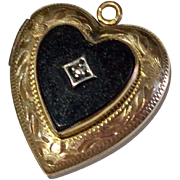 Vintage Gold Filled Faux Black Onyx Heart Locket