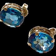 Vintage 14 K Gold Blue Topaz Earrings
