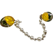 Vintage Lucite Yellow Rose  Faux Pearl Sweater Guard