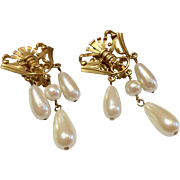 Vintage Matte Gold Faux Pearl Dangle Earrings