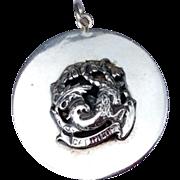 1940'S Large Vintage Cini Sterling Silver Capricorn Three Dimensional Charm Pendant