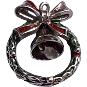 Vintage Sterling Silver Enamel  Three Dimensional Christmas Wreath Charm