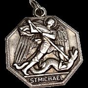 Vintage Sterling Silver Saint Michael Catholic Medal