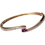 Vintage 10 K Gold Amethyst Bangle Bracelet