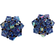 Vintage Blue  Aurora   Borealis Rhinestone Clip Earrings