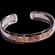 Vintage Sterling Silver Vermeil Cuff Bracelet