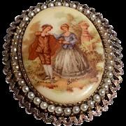 Vintage Silver Tone Metal Faux Pearl Brooch Pendant