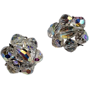 Vintage Silver Tone Metal AB Clip Earrings