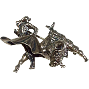Vintage Sterling Silver Matador Bull Fighter Brooch/Pin Mexico