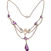 Antique Edwardian Gold Filled Festoon Necklace Faceted Amethyst Glass Droplets