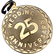 Vintage Sterling Silver 25 TH  Wedding Anniversary Charm