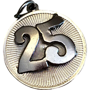 Vintage Sterling Silver 25TH Wedding Anniversary Charm