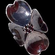 Vintage Dogwood Blossom Ring By Stuart Nye Sterling Silver Circa 1970's