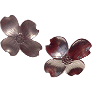 Vintage Sterling Silver Dogwood Blossom Earrings By Stuart Nye
