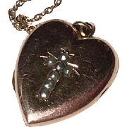 Vintage 14 K Gold Shell Seed Pearl Cross Heart Photo Locket & Gold Filled Chain